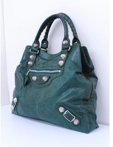 Balenciaga excellent (EX Green Leather Giant 21 Silver Brief Handbag
