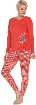 Muk Luks Micro Fleece Rose Tie Front Top & Jogger Pant PJ Set