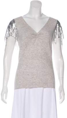 Neiman Marcus Embellished Cashmere Top