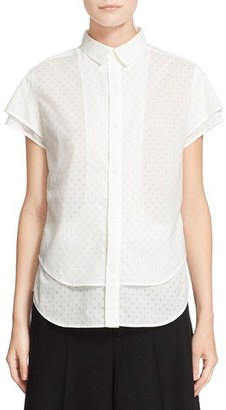 Women's Y's By Yohji Yamamoto Short Sleeve Layer Top $395 thestylecure.com