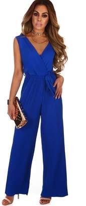 3e05fa2e496 Pink Boutique Runway Hit Cobalt Blue Pleated Wide Leg Wrap Jumpsuit