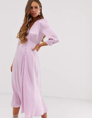 Ghost Maddison button front satin midi dress