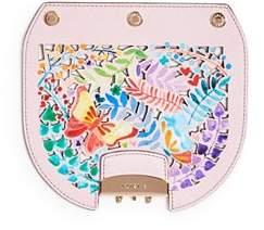 Furla MY PLAY Interchangeable Metropolis Mini Laser-Cut Butterfly Floral Print Leather Flap