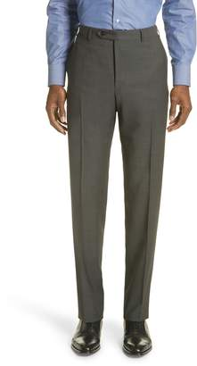 Canali Flat Front Dot Wool Trousers