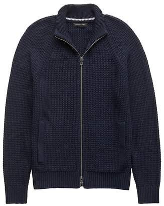 Banana Republic Textured Cotton Blend Full-Zip Sweater Jacket