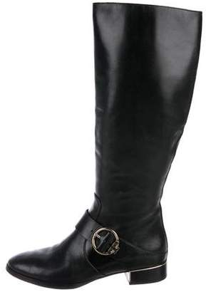 Tory Burch Leather Round-Toe Knee-High Boots