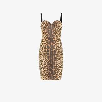 Moschino leopard print sleeveless bustier dress