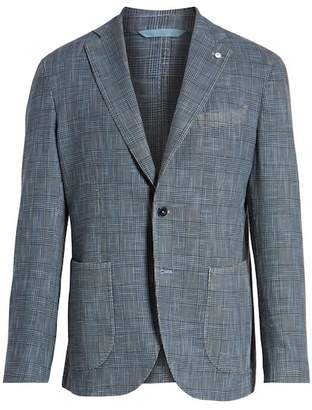 Lubiam Classic Fit Plaid Cotton & Silk Sport Coat