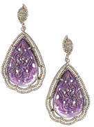 Amethyst & Pave Teardrop Earrings