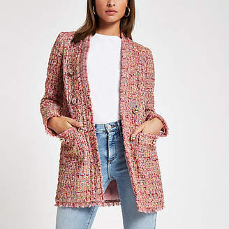 River Island Pink check boucle jacket