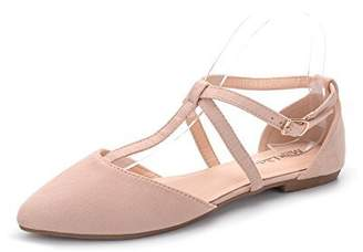 Laurèl Mila Lady Womens Pointed Toe Ankle Wrap T-Strap D'Orsay Flats