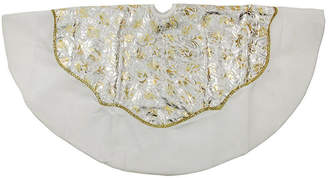 Asstd National Brand 48 Gold and Silver Flourish Christmas Tree Skirt with White Velveteen Trim