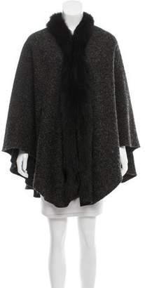 Balmain Knit Fur-Trimmed Poncho