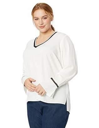Calvin Klein Women's Plus Size V Neck Blouse with MESH Detail