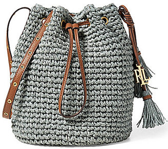 Lauren Ralph Lauren Goswell Collection Janice Tasseled Straw Drawstring Bag $128 thestylecure.com