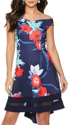 Quiz Floral Printed Bardot Dress