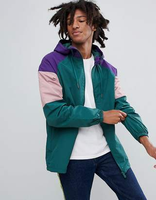 Pull&Bear Nylon Jacket With Coloured Panels In Green