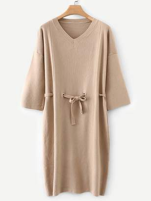 Shein Drop Shoulder Self Tie Sweater Dress