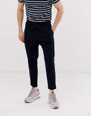 Bershka pants with elastic waist in navy
