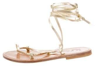 K Jacques St Tropez Leather Lace-Up Sandals