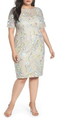 Adrianna Papell Embroidered Lace Sheath Dress