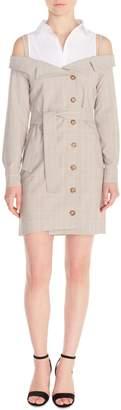Maje Redwan Glen Plaid Convertible Dress