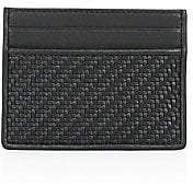 Ermenegildo Zegna Men's Pelle Tessuta Leather Card Case