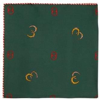 Gucci Gg And Horseshoe Silk Pocket Square - Mens - Green