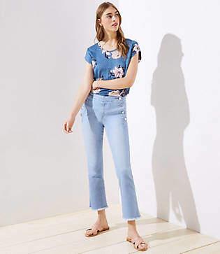 LOFT Modern Sailor Flare Crop Jeans in Vivid Indigo Wash
