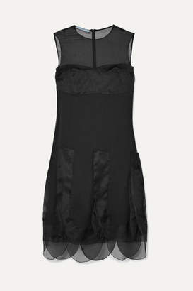 Prada Organza-paneled Silk-georgette Dress - Black