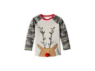 Mud Pie Camo Christmas Reindeer Long Sleeve Raglan T-Shirt (Infant/Toddler)