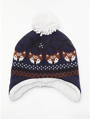 John Lewis & Partners Baby Fox Fairisle Hat, Multi