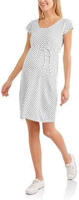 Oh! Mamma Maternity Short Sleeve Scoop Neck Polka Dot Dress with Drawstring Waist-- Available In Plus Sizes