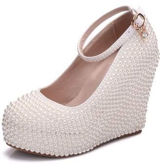 Minishion Womens Hidden High Platform Pearl Beading Wedge Heel Ivory Wedding Evening Shoes US 8.5