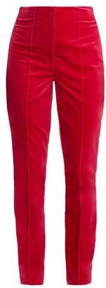 Diane von Furstenberg High Rise Skinny Leg Velvet Trousers - Womens - Pink