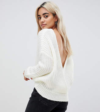 Asos Design Petite Chunky Jumper With V Back
