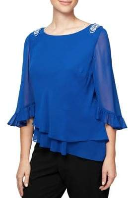 Alex Evenings Plus Embellished Quarter-Sleeve Chiffon Blouse
