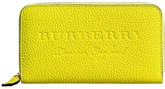 Burberry logo embossed zip around wallet