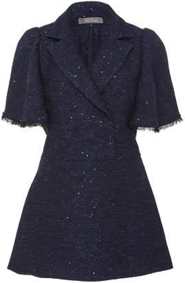 Lela Rose Flutter Sleeve Sequined Tweed Blouse