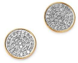 Adina 14K Yellow Gold Pavé Diamond Large Disc Stud Earrings