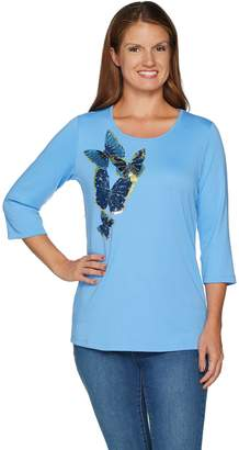 Factory Quacker Butterfly Party Sequin and Bead 3/4 Sleeve T-shirt
