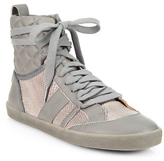 Chloé Leather & Snakeskin High-Top Sneakers