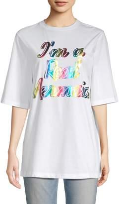 Manoush Women's Oversized Metallic Graphic T-Shirt