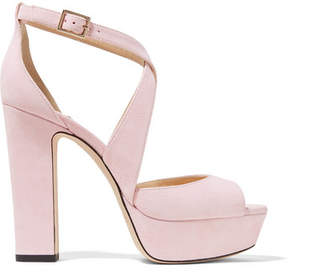 Jimmy Choo April 120 Suede Platform Sandals - Pastel pink