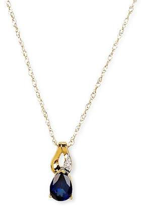 Simply Gold Gemstone 10kt Yellow Gold 7x5mm Pear-Shaped Created Ceylon Sapphire Pendant with Diamond Accents, 18""