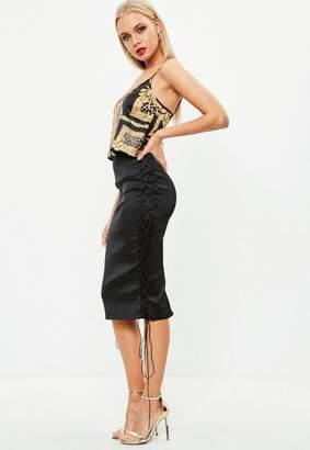 Missguided Black Bonded Midi Skirt