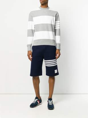 Thom Browne Engineered 4-bar stripe cashmere shell sweat shorts