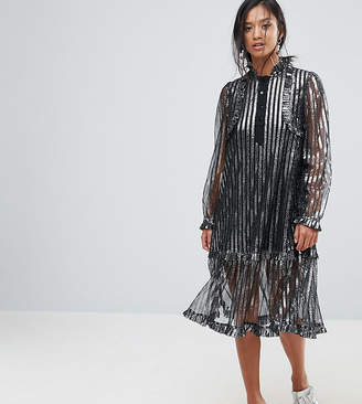 Sister Jane Petite Metallic Stripe Midi Dress