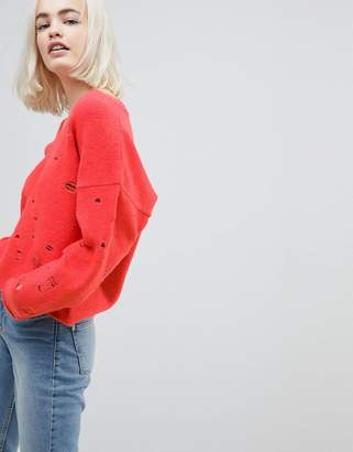 Asos Sweater with V-Neck and Rolled Edges