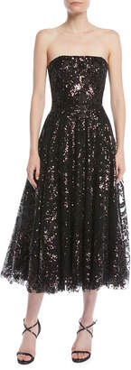Naeem Khan Strapless Fit-and-Flare Sequined Tea-Length Evening Dress